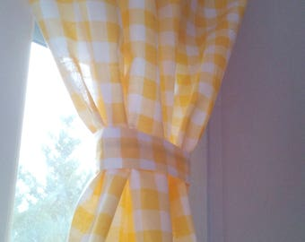 Gingham Curtain - Plaid Curtain - Country Curtain - Checked Drape - Curtains - Gingham Drapes -  Choose Color - Set of 2