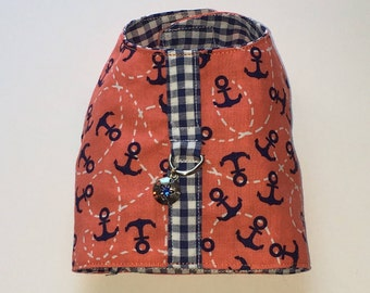 Anchor Nautical dog Harness Vest with Sand dollar charm, teacup harness Vest, cat harness, Small dog harness vest