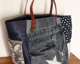 patchwork denim/Pocket designer tote bag military camouflage/money/star blade camel leather handles/Pocket/Navy