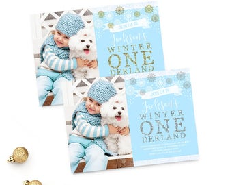 Winter Onederland Birthday Invitation Boy First Birthday Invitation Snowflakes Boy 1st Birthday Winter Birthday Invite Blue Silver Gold 5x7