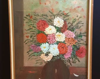 Vintage, signed flower painting, oil on canvas board, Zinnia, bouquet, cottage decor, original art from Italy