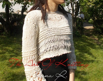 Cropped sweater,Cropped Blouse, loose sweater, boho tops, sweaters for women, summer loose knit,
