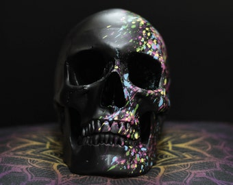 Rainbow Splash - Matte Black Paint Splatter Life Size Realistic Faux Human Skull Replica with Removable Jaw / Art / Ornament / Home Decor