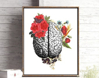 Anatomy Poster, Human Brain Art, Anatomical Decor, Anatomy Art, Vintage Art, Medical School Graduation, Gift for Doctor, Gift for Nurse