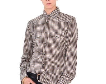VINTAGE Brown Checked Long Sleeve Retro Button Down Shirt