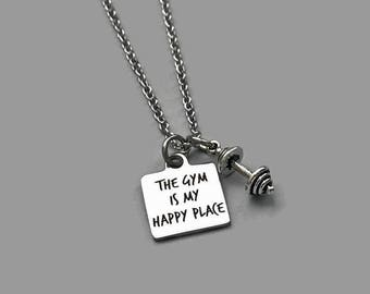 Gym Charm Necklace, Gym Necklace, The Gym Happy Place, Workout Necklace, Exercise Necklace, Fitness Necklace, Fitness Jewelry
