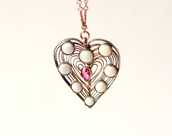 Vintage heart necklace, Unique opal pendant, Gold wire work, Pink stone and opals, Gift for her, Golden heart boho necklace