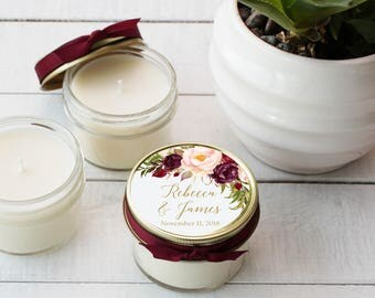 Set of 12 - 4 oz Soy Candle Wedding Favors | Marsala Floral Label Design | Fall Floral Labels | Fall Wedding Favor | Marsala Wedding Favors