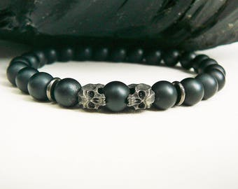 Men's Skull Bracelet, Men's Bracelet, Men's Beaded Bracelet, Bracelet For Men, Skull Jewelry, Matte Black Onyx, Men's Jewelry, Oxidized