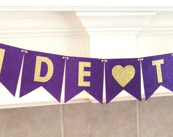Bridal Shower Banner, Purple and Gold Banner, Bride to Be Banner, Purple and Gold Wedding, Pennant Banner, Gold Glitter, assembled