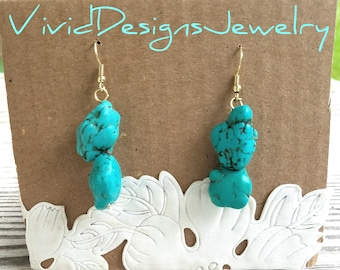 Turquoise Nugget Statement Earrings - Turquoise Dangle Statement Earrings- Blue Bead Earrings - Turquoise Earrings Dangle - Jewelry