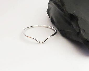 Thin V-Ring, V Stacking Ring, Super Thin Ring, 925 Sterling Silver Ring, Skinny Stack Ring 1 mm, Minimalist Ring, Dainty Thin Ring