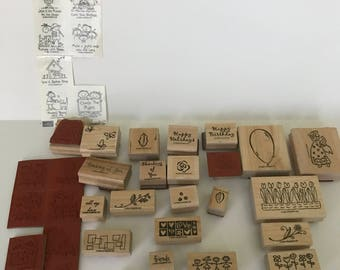Lot of Rubber Stamps, Assortment of Stamps, Rubber Stamps, Set of Stamps, 30 Rubber Stamps