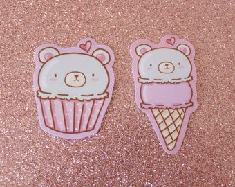 Kawaii Bear Stickers/ Cute Paper Stickers/ Cupcake/ Ice Cream/ Digital Illustration