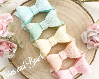Lace Hair Bow - Felt Lace Bow Headband - Lace Bow Clip - Felt Bow - Baby Bow - Baby Headband - Hair Bow Choice of Colours.
