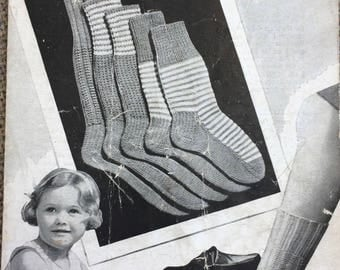 Vintage knitting pattern 1940's Bestway 849 children socks in 5 sizes 3 ply