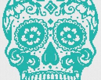 On SALE Sugar Skull - pop art - 129 x 175 stitches - Cross Stitch Pattern Pdf - INSTANT Download - B906