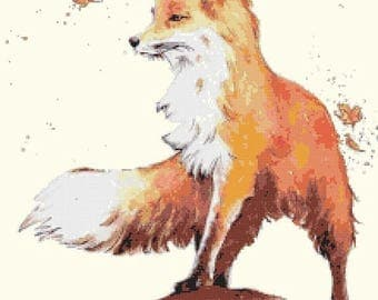 Watercolor fox Cross Stitch Pattern Watercolor pattern needlepoint needlecraft -220x275 stitches- INSTANT Download - B1487