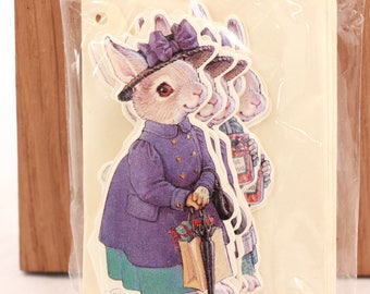Vintage 1991 Sealed Shackman Package of 12 (4 Different) Kathy Lawrence Hopper Rabbits Christmas cards & Envelopes. 8525