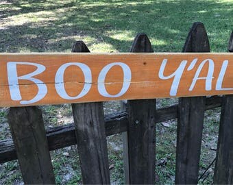 Boo Y'all horizontal wood sign