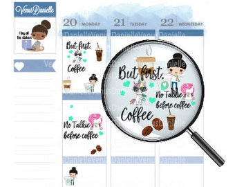 Coffee Planner Stickers, Coffee Stickers, Coffee Monday, Coffee Sticker, Small Planner Stickers, Traveler's Notebook Stickers
