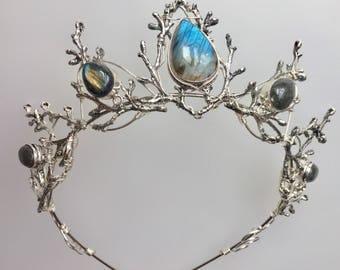 The LUNA Labradorite Crown - Silver Branch Twig Headdress Tiara Bridal Prom Festival