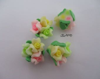 Drilled multicolored flowers 15mm