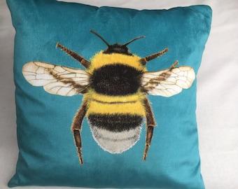 Velvet Bee Cushion Turquoise Blue