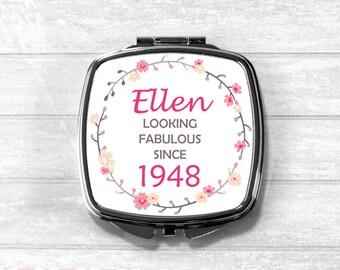 Personalised 70th Birthday Compact Mirror, 70, 70th, 1948, Cosmetic Mirror, Pocket Mirror, Milestone Gift, UK