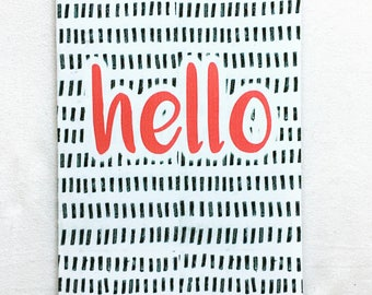 Set of 6 Hello Blank Greeting Card