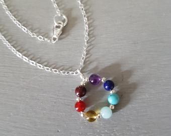 7 CHAKRA necklace choker Sterling Silver or Gold Fill tiny gemstone bead necklace small beaded YOGA mala Chakra jewelry Boho jewellery