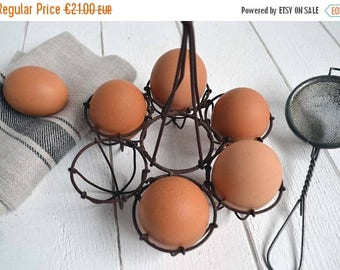 25% SALE Vintage French Wire Egg Holder Display Basket Fil de Fer