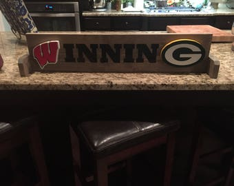 Winning Wooden Table Top Sign Greenbay Packers and Wisconsin Badgers