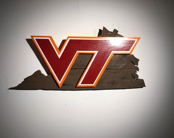 Virginia Tech Rustic Wooden Sign Hokies