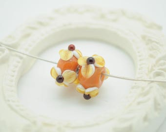 2 (138) copper and amber Lampwork Glass Beads