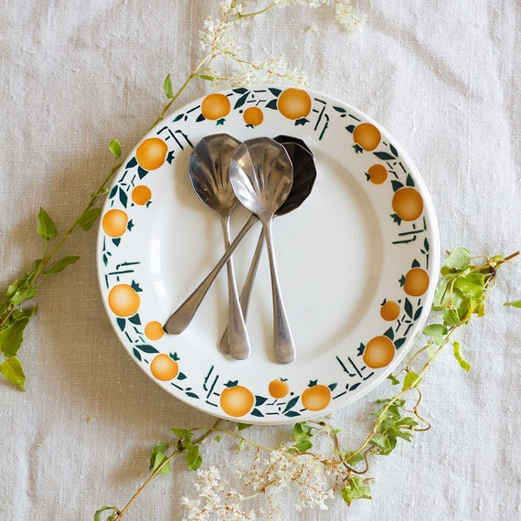 Midcentury Orange Breakfast Plates - set of 4