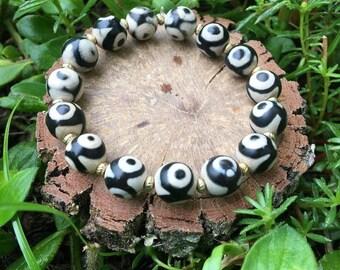 Dorothy Bracelet- Black & White Agate(10mm) - beaded bracelet- boho- oliver grey jewelry