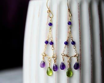 Amethyst and Peridot Chandelier Earrings