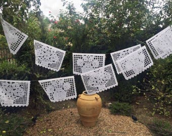 Mexican papel picado banner, all white floral bunting, cut tissue paper or plastic, fiesta party supplies, party decorations, wedding decor