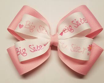"""Big Sister Pink 5"""" Double Layer Hair Bow Alligator Clip"""