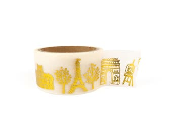 Wide Washi tape - Paris gold foil, city of love, eiffel tower, stationery, stationary, LittleLeftyLou, Snail Mail, Happy mail, masking tape