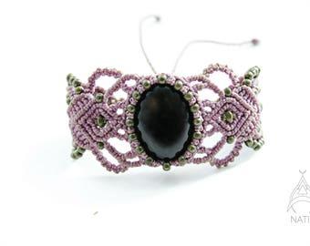 Obsidienne macrame bracelet
