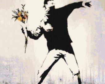 "ON SALE Counted Cross Stitch Pattern chart pdf file - murals by Banksy - street art - 15.00"" x 14.79"" - L1306"