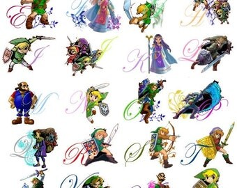 "zelda alphabet Counted Cross Stitch zelda abc Pattern point de croix, embroidery, needlework - 19.71"" x 27.21"" - L825"