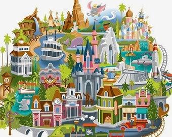 Disneyland map cross stitch Disneyland map pattern needlepoint needlecraft modern pattern - 354 x 312 stitches - L1250