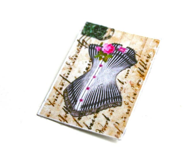 Brooch Victorian corset on manuscript great vintage on coated canvas