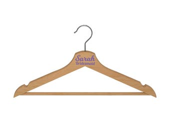 Wooden Hanger with Name and Text