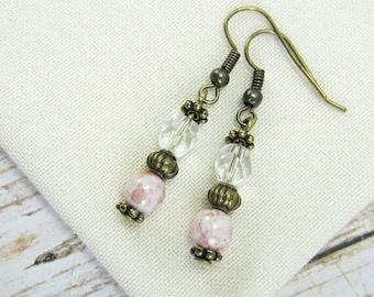Blush Earrings, Blush Pink Earrings, Blush Drop Earrings with Antique Brass, Light Pink Earrings, Gifts under 30