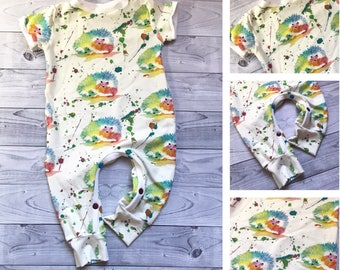 Baby Romper - Hedgehog Baby Romper - Hedgehog Baby Clothes - Organic Baby Romper - Baby Boy Clothes - Baby Girl Clothes - Baby Shower