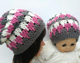 MOMMY/SISTER and ME Crochet Hat Young Woman/Teen and Toddler slouchy hat.